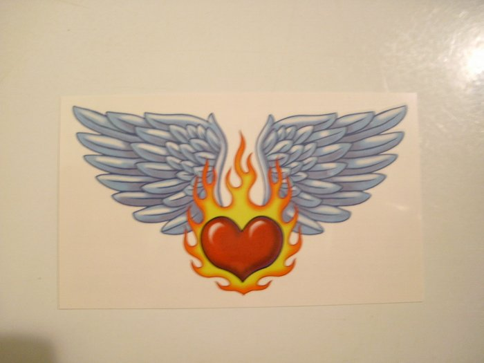 Girls Lower Back Temporary Tattoo (Burning Heart With Wings)