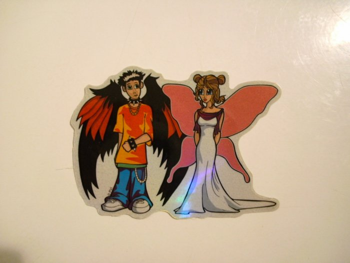 Woman & Man With Wings Sticker