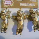 Lot of 3 Gold Cherubs - Christmas Ornament - New