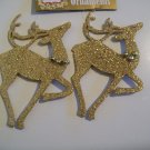 Lot of 2 Glittery Gold Reindeer With Bells - Christmas Ornament - New
