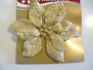 "Glitter Accented Gold Poinsettia 6"" - Christmas Ornament - New"