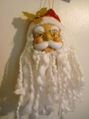 "Realistic Santa Clause With Red Hat/Gold Snowflakes Ornament - 10 3/4"" x 4"" - NEW"