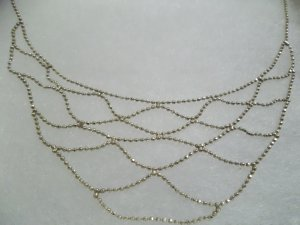 """.925 Sterling Silver Web Of Beads 17"""" Necklace - Prom/Pageant"""