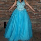 Beautiful Prom/Pageant/Brides Maid/ Ball Lt Turquoise Gown - Size 10