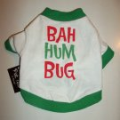"Holiday Pet Tee - ""Bah Hum Bug"" White & Green Tee - Size X-Small -NWT"