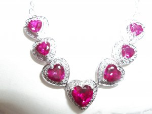 7 Red Ruby Heart Stones Sterling Silver Pendant & Necklace - *NWT*