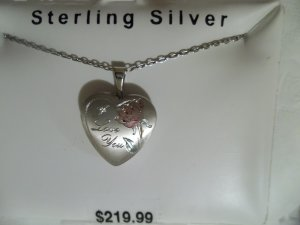 """""""I Love You"""" Rose 16MM Sterling Silver Heart Locket 18"""" Necklace - *NWT*"""