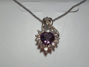 "Purple Amethyst/ White Sapphire/Diamond SS Heart Pendant With 18"" Chain - *NWT*"
