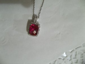 "Solid 925 Sterling Silver Ruby & White Sapphire Pendant With 18"" Chain"
