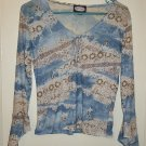 Zoey Beth - Blue, brown, tan, white see-thru shirt - sz Juniors Medium