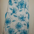 Jessica Howard -White & Blue Spaghetti String Flower Dress - Size 12