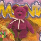 TY Beanie Baby Card # 245 Teddy Magenta New Face-Style # 4056-2nd Ed -Ser 4-1999