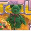 TY Beanie Baby Card # 246 Teddy Teal New Face-Style # 4051-2nd Ed -Ser 4-1999