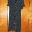 Black with White Polka Dot Ladies Dress - Size L (Coldwater Creek)