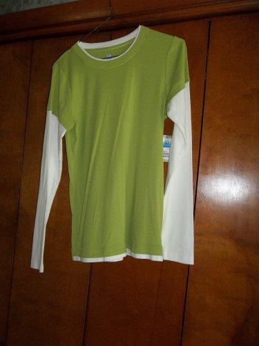 Ladies Green & White Long Sleeve Shirt -NWT- Size M (SB Active)