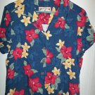 Ladies Blue Blouse With Flowers - Size L - (Caribbean Joe)