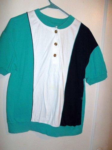 Ladies Green, White, & Black Shirt - Size L - (Aileen)