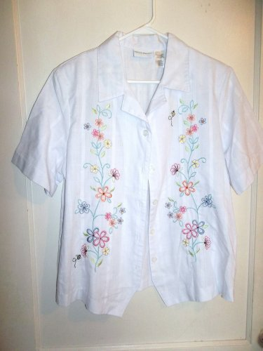 Ladies White Button Up Shirt - Alfred Dunner - Size 14