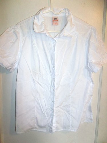 Ladies White Stretch Button Up Shirt - Faded Glory - Size XL (16/18)