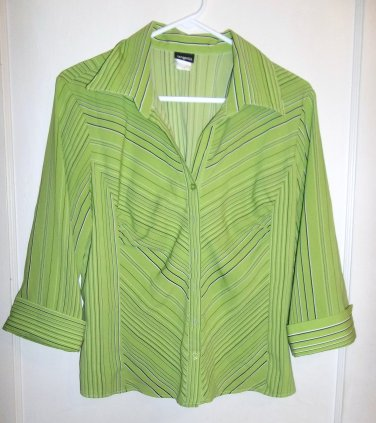 Ladies Green Button Up Blouse - Tangenis - Size Large