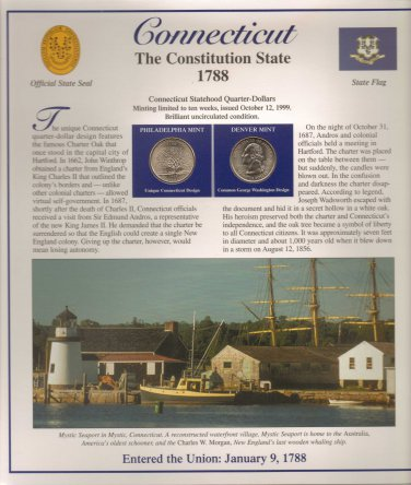 Connecticut State Quarters (P&D) and Stamps - Mint Condition