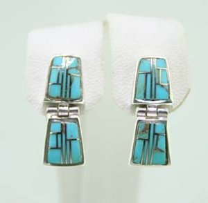 Sterling Silver Turquoise &Lab Opal Earrings