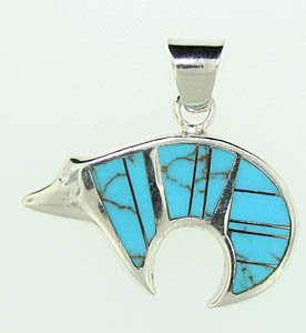 Sterling Silver Turquoise and Lab Opal Bear Pendant
