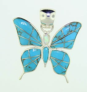 Sterling Silver Turquoise and Created Opal Butterfly Pendant