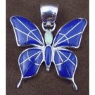 Sterling Silver Lapis Opal Butterfly Pendant