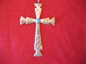 Sterling Silver Cross w/ Turquoise