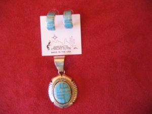 Sterling Silver Turquoise Pendant and Earring Set