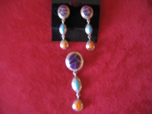 Sterling Silver Sugilite Turquoise and Spiny Oyster Shell Pendant and Earrings
