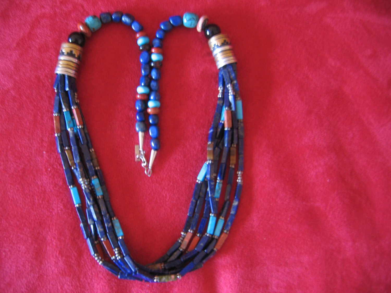 Tommy Singer 30 inch Lapis Lazuli Multi Strand Necklace