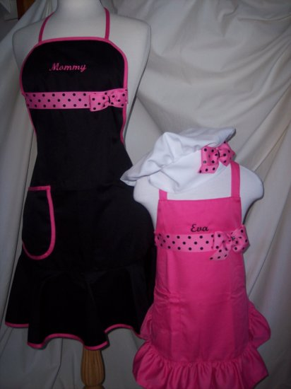 Mommy and me Apron Set  w/chef hat   Personalized