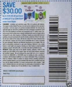 Lot of 15 $30 Bayer Contour/ Breeze2 meter coupons
