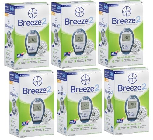 Lot of 6 Brand New Bayer Breeze 2 Blood Glucose Meter Diabetes Monitors