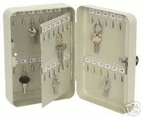 48 Hook Locking Key Box, Powder Coated Steel