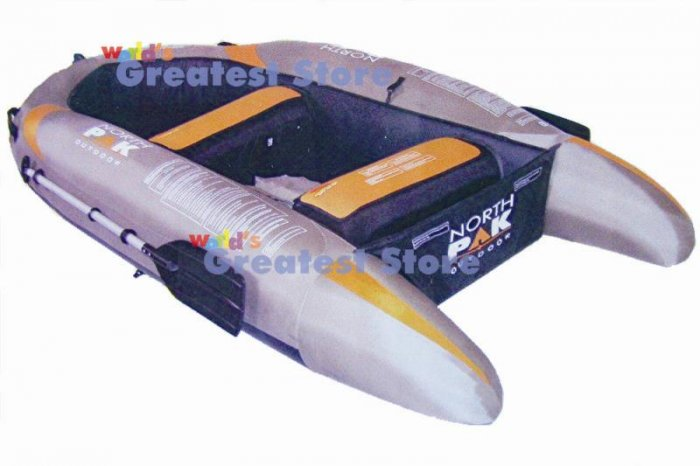 8' Inflatable Hard Floor Boat / Raft / Dinghy & 2 Oars