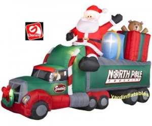 Christmas Airblown Inflatable Santa in North Pole Truck