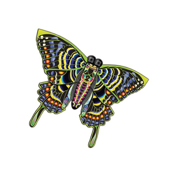 """Butterfly Multicolored Nylon Kite 54"""" Wing Span Free Winder"""