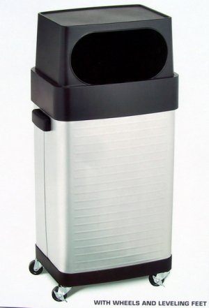 Stainless Steel Rolling Trash Bin Garbage Can 17gal