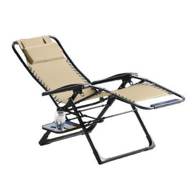 Sunbrella zero gravity suspension lounge chair beige for Anti gravity suspension chaise lounge