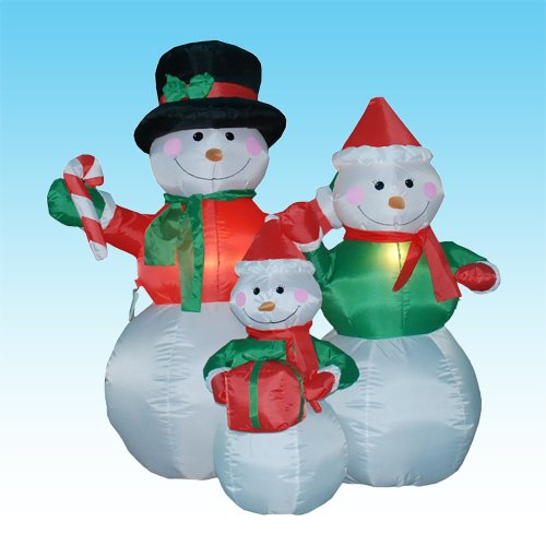 Christmas Airblown Inflatable Illuminated 4' Snowman Family