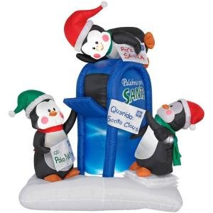 6 ft. Lighted Mailbox & Penguins Airblown Airblown Inflatable