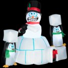 5' Animated Airblown® Inflatable – Snowman and Penguins with Igloo