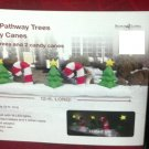 12' Lighted CHRISTMAS TREES & CANDY-CANES PATHWAY Airblown Inflatable