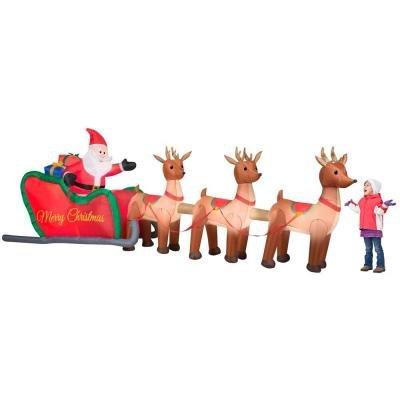 16' Giant  Airblown Inflatable Illuminated Santa Sleigh