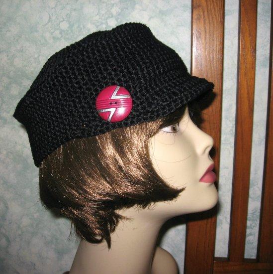 CROCHET PATTERN Womens BLACK CASTRO CAP Newsboy Visor Hat ePattern PDF EASY TO MAKE