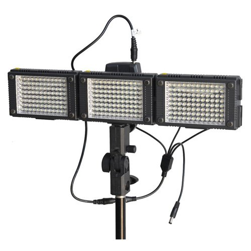 HDV-Z96 (3pcs) LED Video Lights for DV Camcorder lighting+Support Stand+Sony adapter+1x4 DC cable
