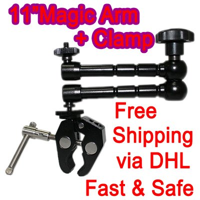 """11""""Articulating Magic Arm for Lilliput Ruige HDMI field Monitor 667 668+super Clamp+free shipping"""